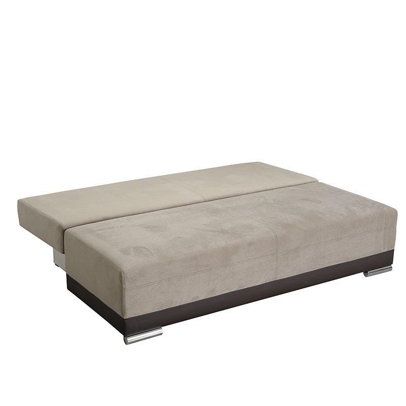 Artikia Καναπές Κρεβάτι Kron Μπέζ με Καφέ δερματίνη Brand Fylliana 2