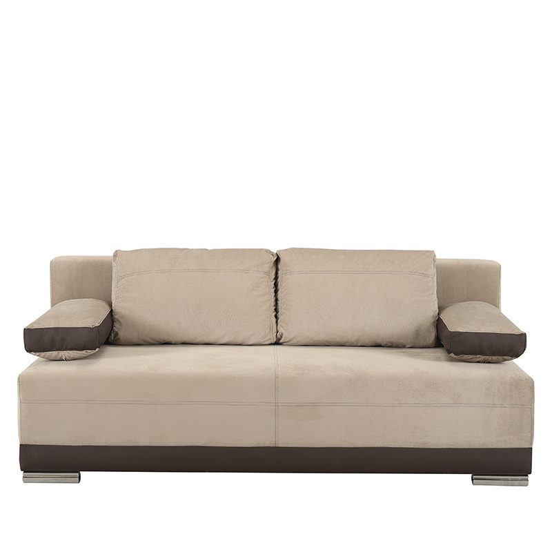 Έπιπλα-Artikia-Καναπές-Κρεβάτι-Kron-Μπέζ-με-Καφέ-δερματίνη-Brand-Fylliana
