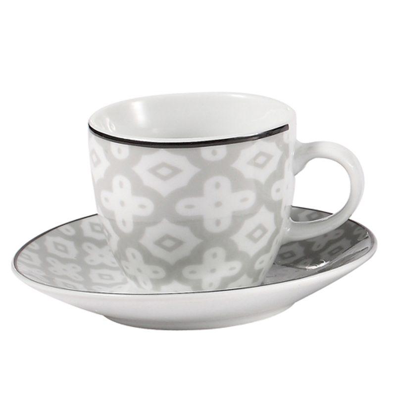 Έπιπλα Artikia Σετ 6 φλυτζάνια καφέ Λευκό Γκρί Brand Fylliana